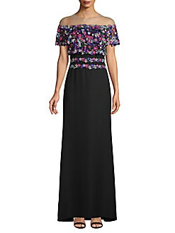 a81f8b65ccf QUICK VIEW. Tadashi Shoji. Embroidered Illusion Gown