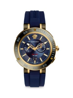 Versace Ip Stainless Steel Chronograph Watch In Gold Navy