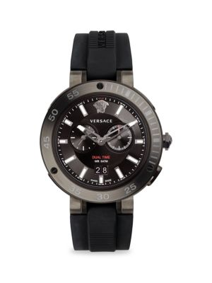 Versace Chronograph Stainless Steel Silicone Strap Watch In Grey