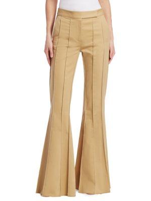 Rosie Assoulin Pants Pleated Khaki Flare Pants