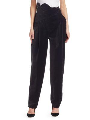 Rosie Assoulin Pants High-Waist Velvet Scallop Pants