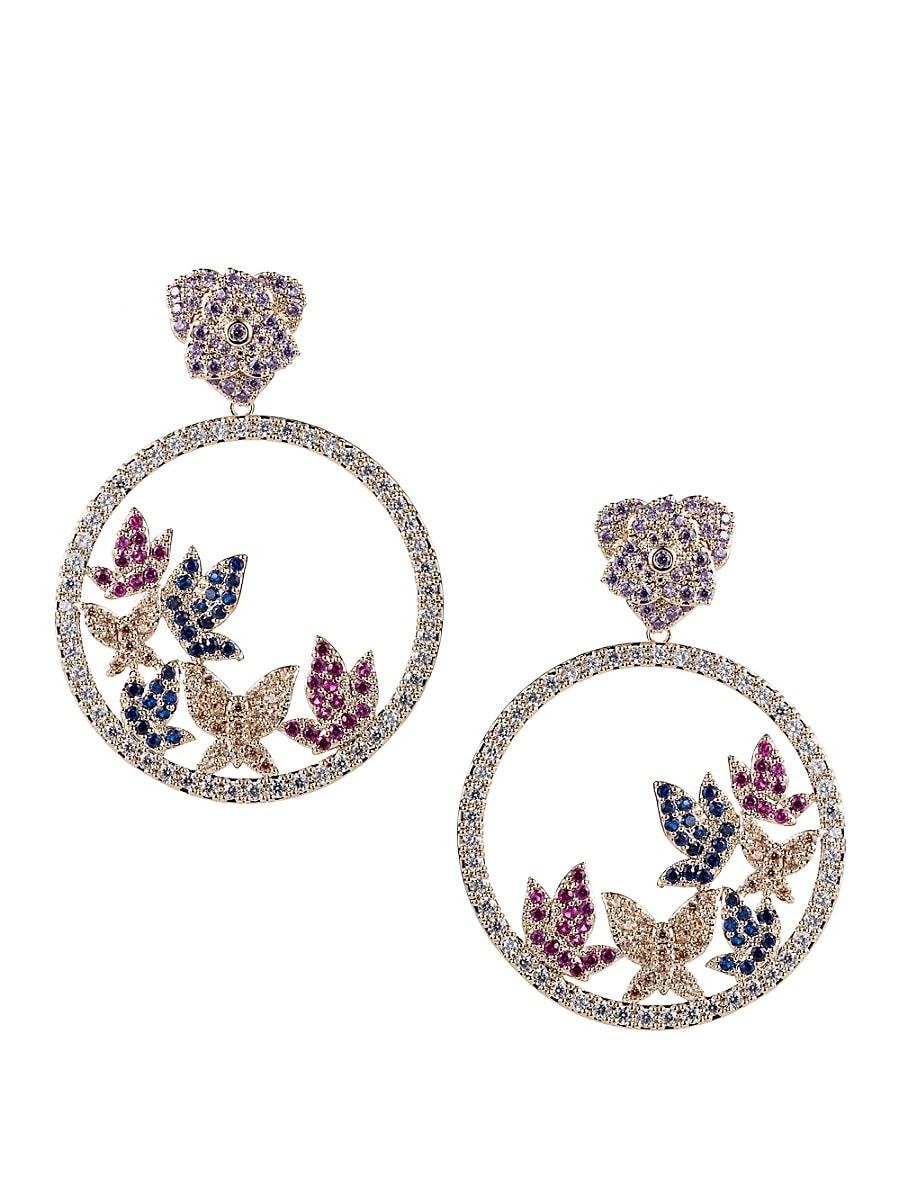 Women's Luxe Crystal Butterfly Hoop Earrings