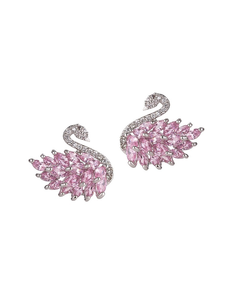 Women's Luxe Swan Crystal Stud Earrings