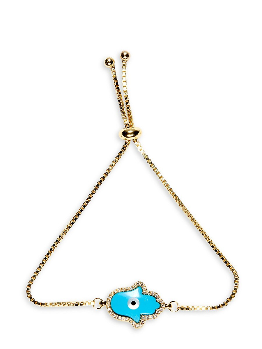 Women's Luxe 18K Goldplated Crystal Hamsa Charm Bracelet