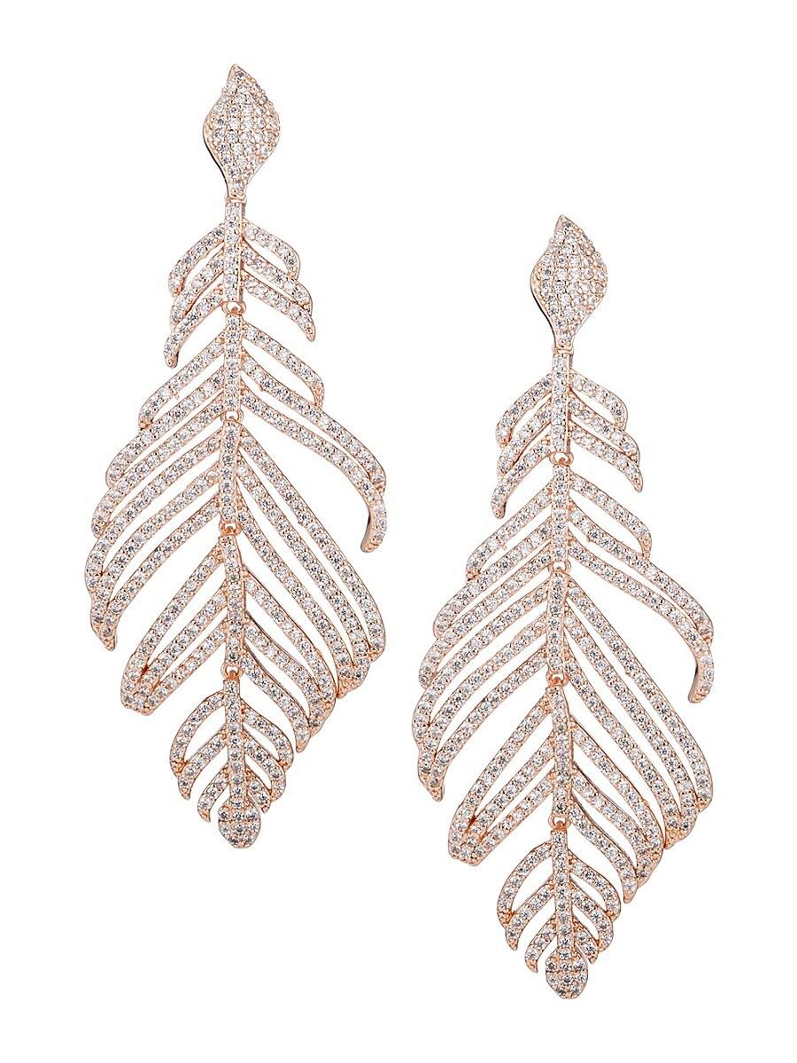 Women's Luxe Crystal Feather Drop Earrings