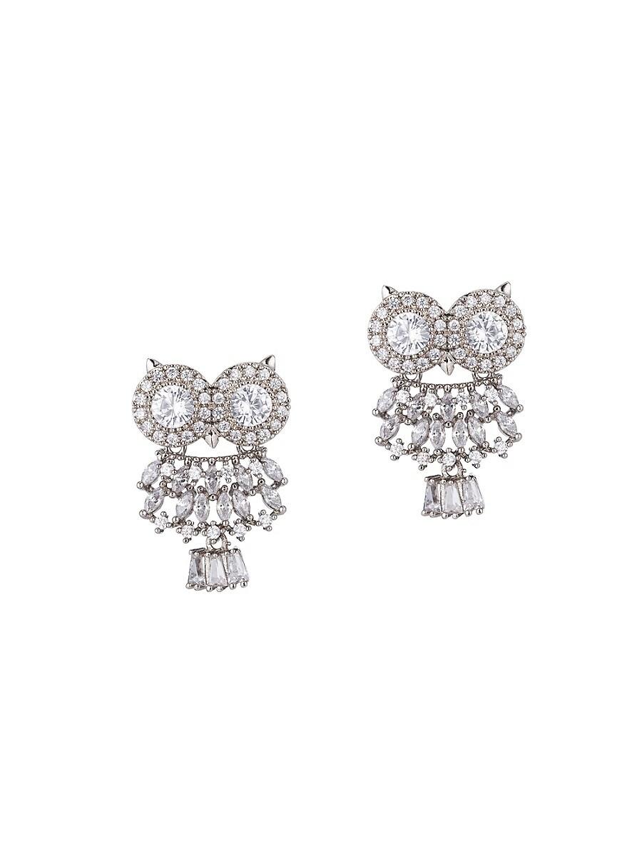 Women's Luxe Owl Crystal Drop Earrings
