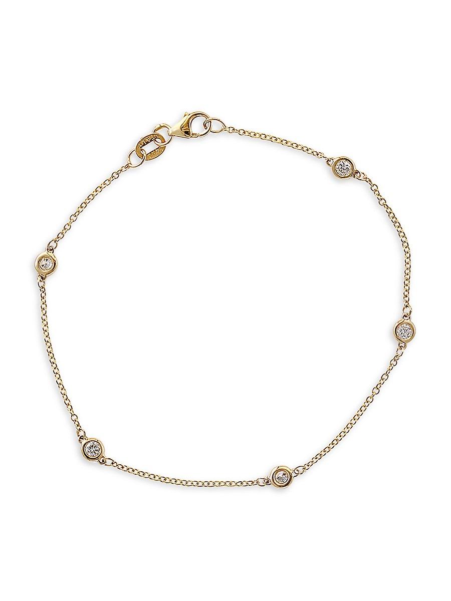 Women's 14K Yellow Gold & Diamond Station Bracelet