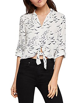 955032fe Product image. QUICK VIEW. BCBGeneration. Printed Tie-Front Blouse