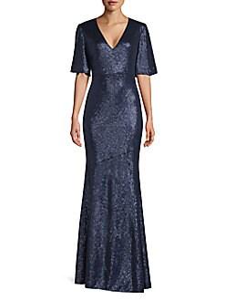 b976f4601eb25 QUICK VIEW. Rachel Zoe. Heather Flutter Sleeve Sequin Gown