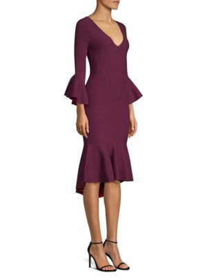 Milly Contrast Knit Draped Mermaid Dress In Plumruby