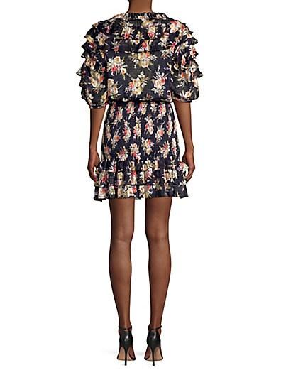 9eb9ee9a47730 ... Rebecca Taylor Floral Silk   Cotton Ruffle Mini Dress