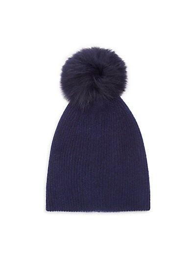 0368c1a2bac Saks Fifth Avenue Knit Cashmere   Fox Fur Pom-Pom Hat ...
