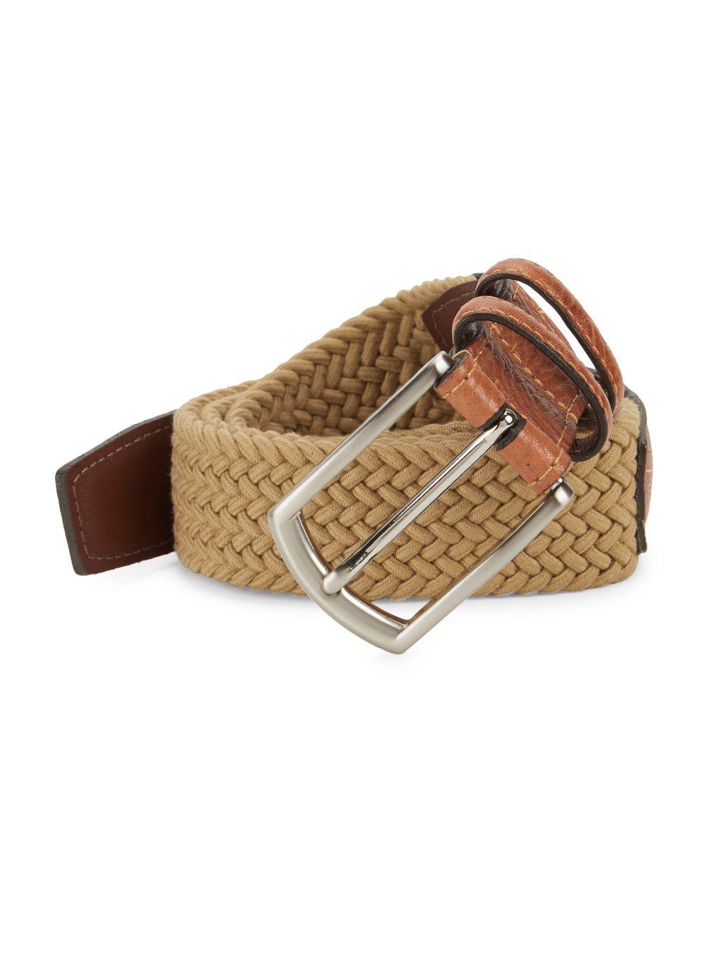 Saks Fifth Avenue Leather & Textile Belt