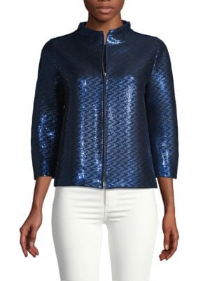 Giorgio Armani Jackets Sequin Zip-Front Jacket