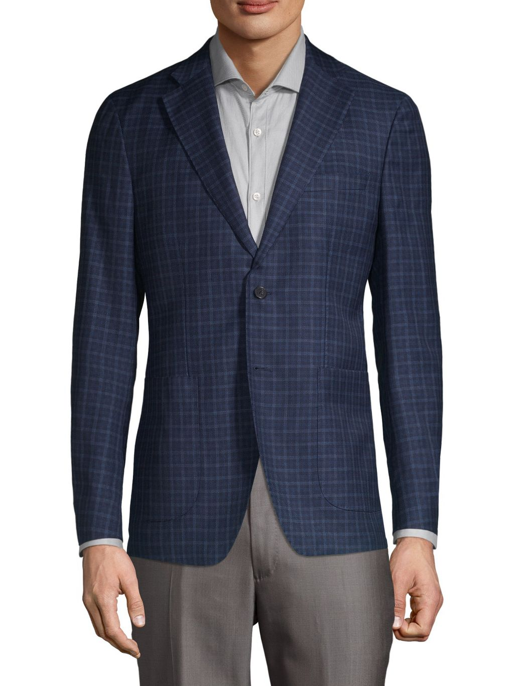 Saks Fifth Avenue Made in Italy Mini-Check Wool-Blend Sport Jacket