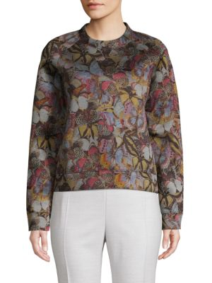 Valentino Butterfly-print Cotton Blend Sweater In Multi