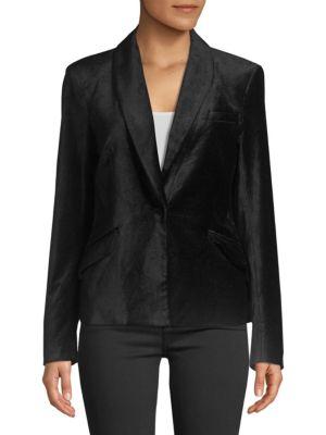 7 For All Mankind Tailored Velvet Blazer In Black