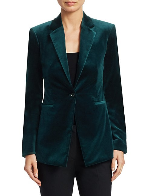 THEORY | Velvet One-Button Blazer | Goxip