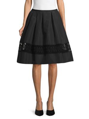 Carolina Herrera Skirts Lace-Trimmed Silk & Cotton-Blend Skirt