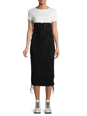 Ben Taverniti Unravel Project Skirts Lace-Up Side Suede Skirt