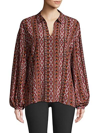 87e5967633ab16 Lafayette 148 New York Delora Silk Printed Blouse ...