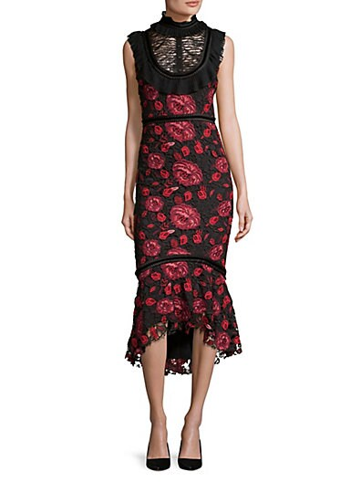 038e4690859 Alice + Olivia Rose Lace High-Neck Mermaid Dress ...