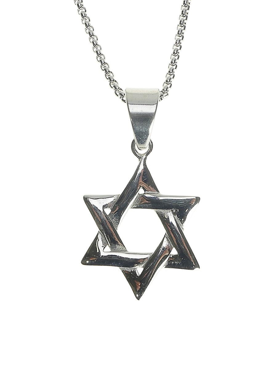 Men's Dell Arte Stainless Steel Star of David Pendant Necklace