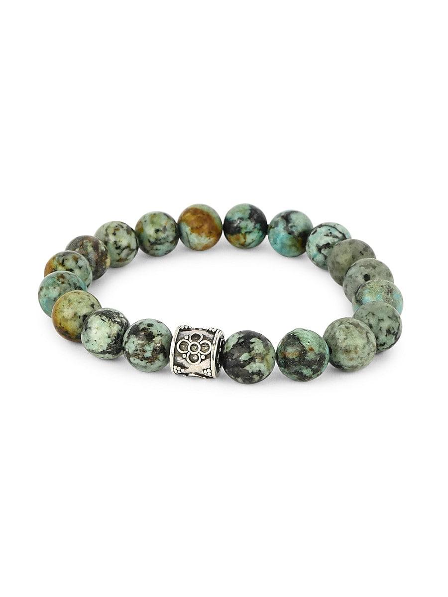 Men's Dell Arte Sterling Silver & Turquoise Beaded Bracelet