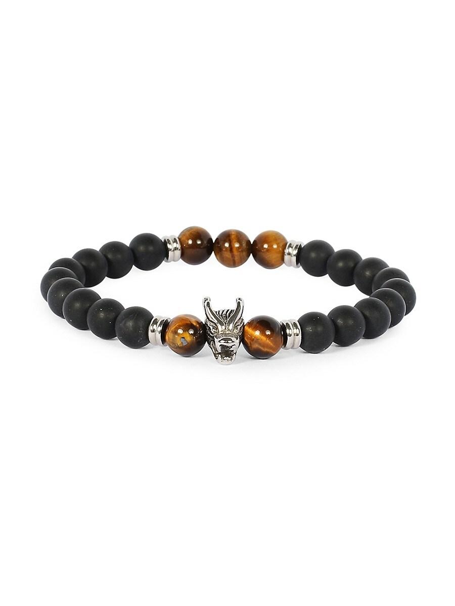 Men's Stainless Steel & Black Onyx Beaded Stretchable Bracelet