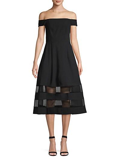 9a3e51218e4 Aidan Mattox Shadow Off-The-Shoulder Fit- -Flare Dress ...