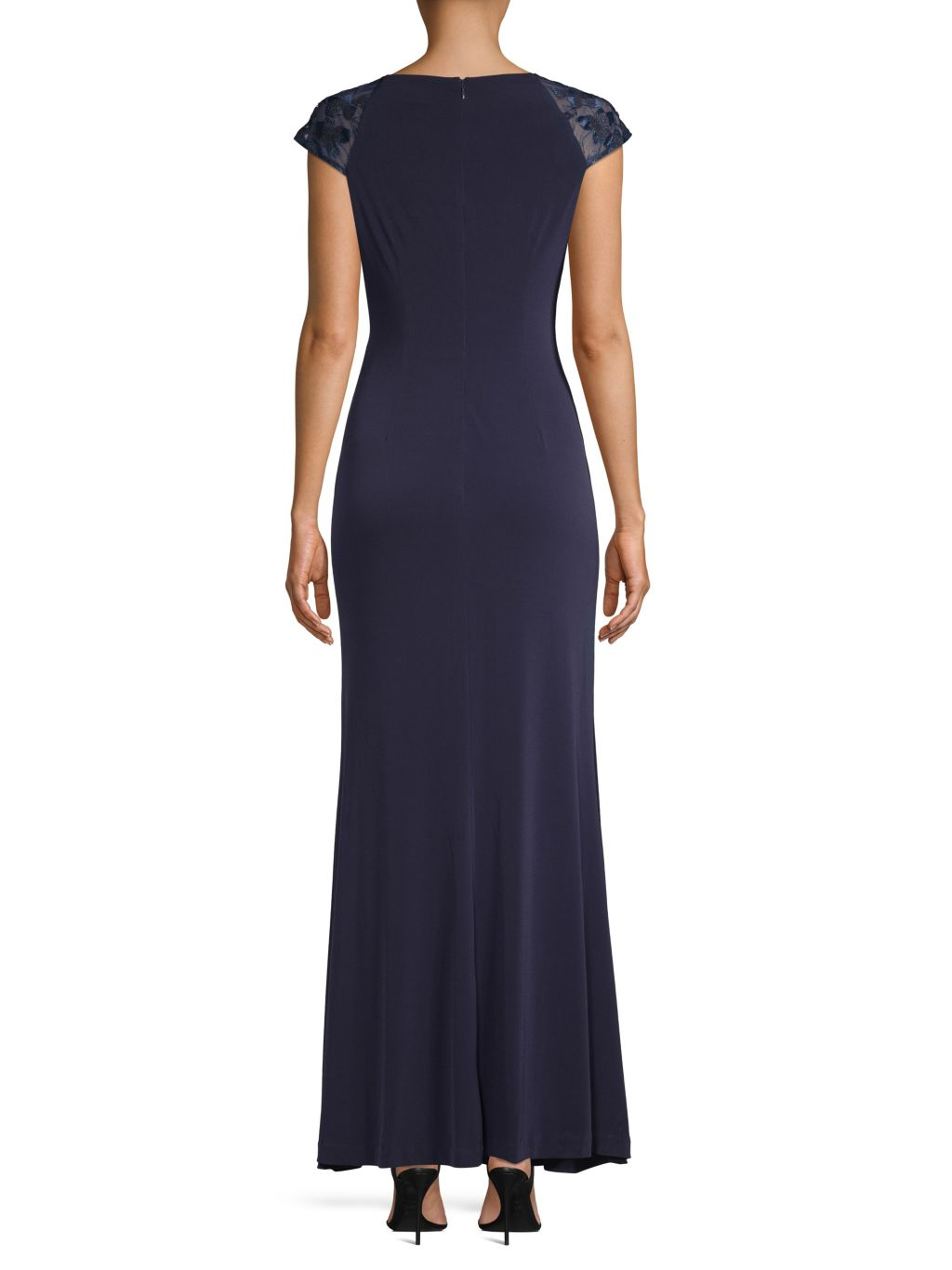 Calvin Klein Cap Sleeve Embroidered Gown