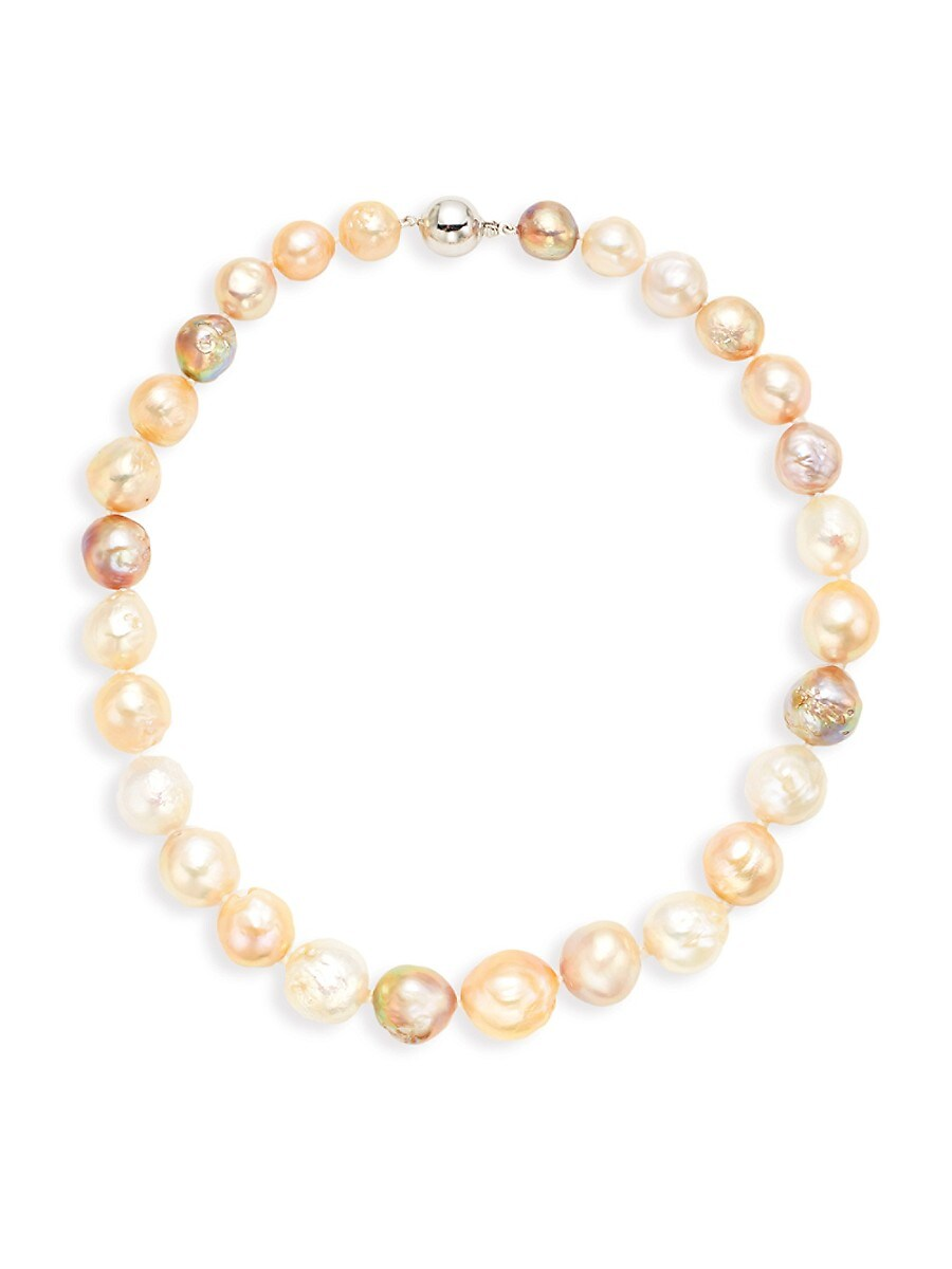 Women's 925 Sterling Silver & 16-12MM Multicolor Baroque Off-Round Pearl Necklace