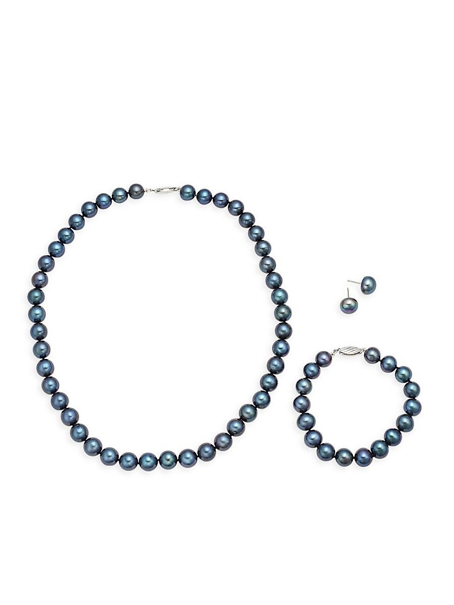 Women's Sterling Silver & Semi-Round Black Pearl Necklace