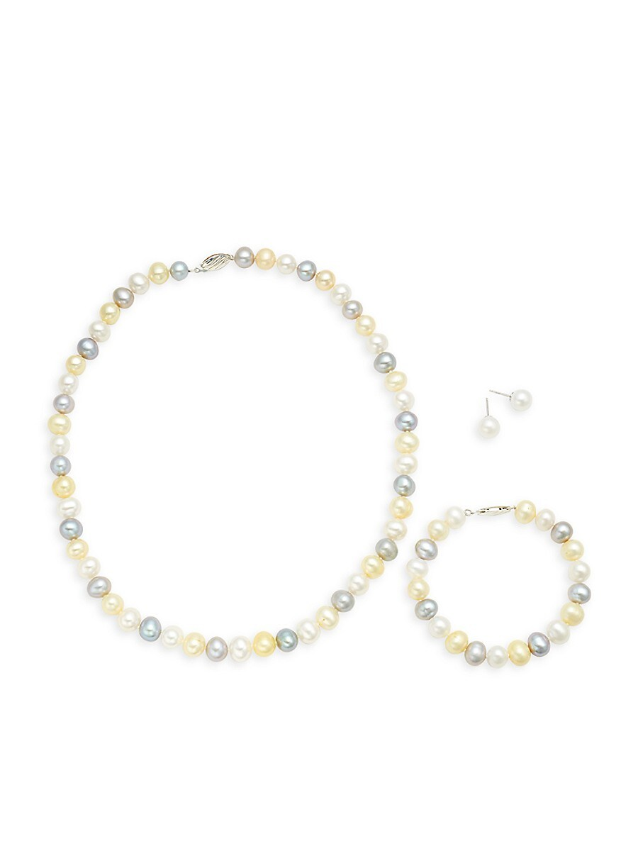 Women's 925 Sterling Silver & 8-9mm Multicolored Semi-Round Cultured Freshwater Pearl Collar Necklace