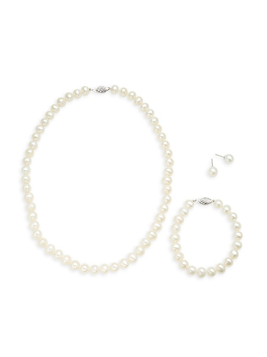 Women's 925 Sterling Silver & 8-9mm White Semi-Round Freshwater Pearl Collar Necklace