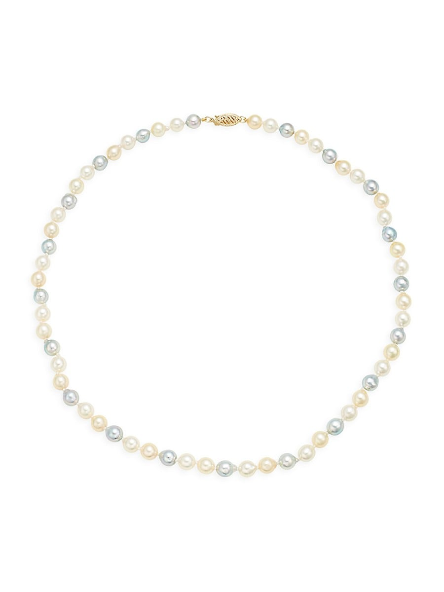 Women's 14K Yellow Gold & Multicolor Round Pearl Necklace