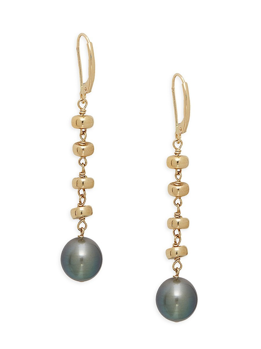 Women's 14K Yellow Gold & 9mm & 10mm Tahitian Pearl Drop Earrings