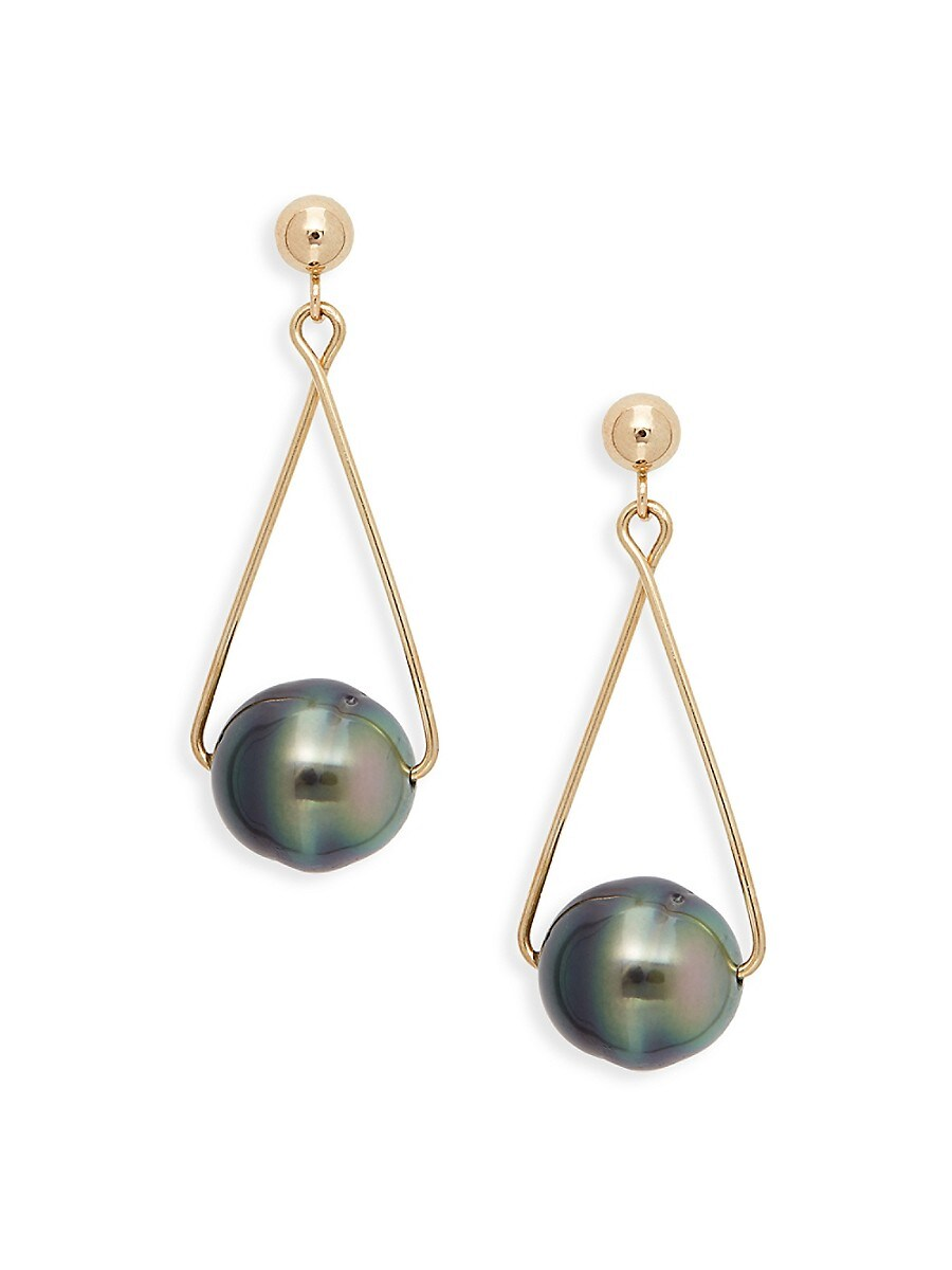 Women's 14K Yellow Gold & 9.5mm Black Tahitian Pearl Drop Earrings