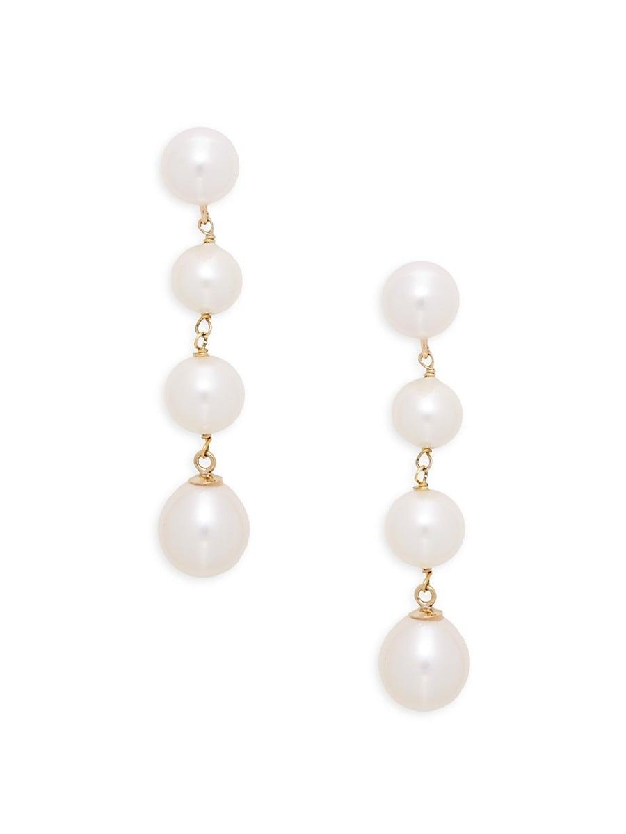 Women's 14K Yellow Gold & 6mm-8mm White Pearl Drop Earrings
