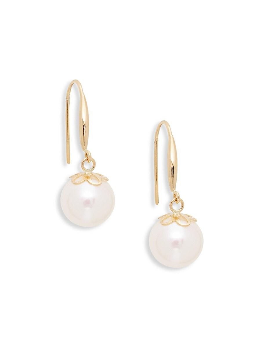 Women's 18K Yellow Gold & 9mm White Pearl Drop Earrings