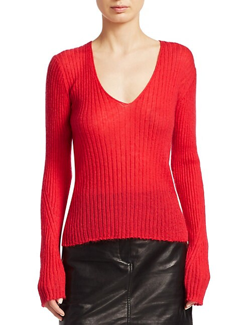 RAG & BONE   Donna Rib-Knit V-Neck Sweater   Goxip