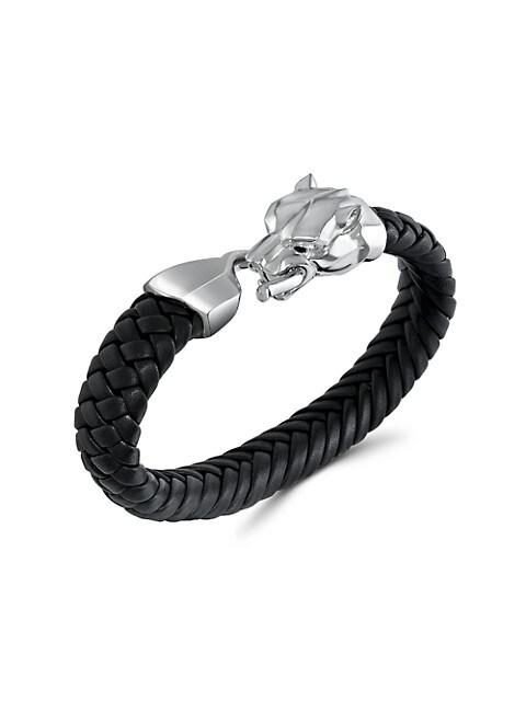 Effy Onyx Eye Leopard Pendant Braided Leather Bracelet