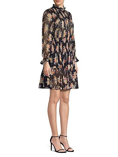 4a8a8533c3a3 Rebecca Taylor Floral Smocked A-Line Dress ...
