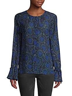 a9e7b2ec752300 QUICK VIEW. Derek Lam 10 Crosby. Printed Bell-Sleeve Silk Blouse