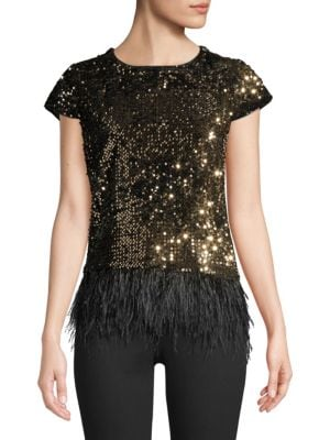 Milly Tops Feather Hem Sequined Tee