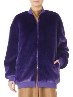 Tibi Jackets Faux Fur Zip-Up Track Jacket