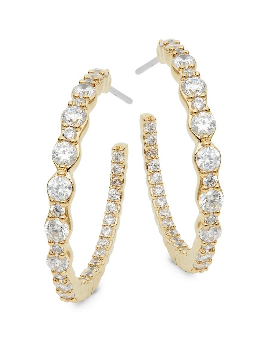 Women's Goldtone & Crystal Hoop Earrings