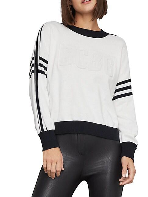 BCBGMAXAZRIA | Striped Logo Cotton Sweater | Goxip