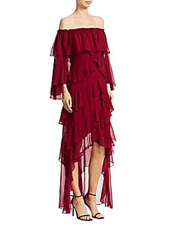 4c4fef976991 QUICK VIEW. Badgley Mischka. Ruffled Off-The-Shoulder High-Low Dress