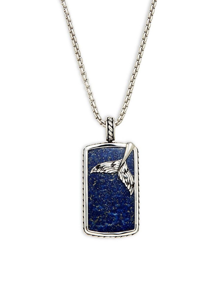 Men's Sterling Silver & Lapis Pendant Necklace